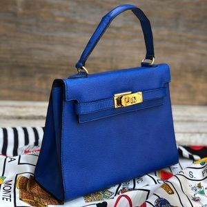 Lovely Electric Blue Genuine Leather Mini Bag